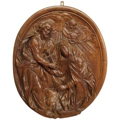 Carved 18th Century Oval Wooden Religious Plaque from France