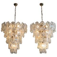 Pair of Huge Vintage Italian Murano Chandelier Lamp by Vistosi, 50 Glasses