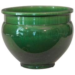 Antique Awaji Pottery Green Monochrome Planter Jardinière