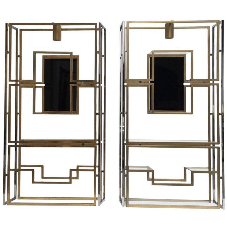 Elegant Pair of Illuminated Brass, Chrome, Glass Étagère by Kim Moltzer, 1968 1