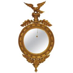 Regency Carved and Giltwood Convex Mirror with Eagle, circa 1830