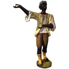 Italian Glazed Terra Cotta Blackamoor Sculpture