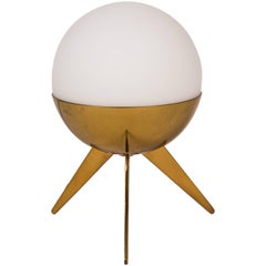 1950s Stilux Milano Brass and Glass Tripod Table Lamp
