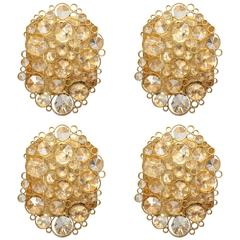 Set of Four Vintage Palwa Brass and Crystal Sconces