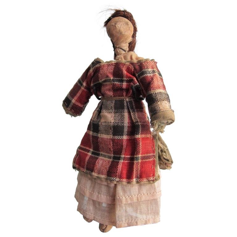Child's Cloth Pocket Doll with Human Hair For Sale
