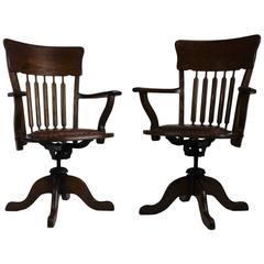 Pair of American Oak Swivel Desk Chairs, 1930s