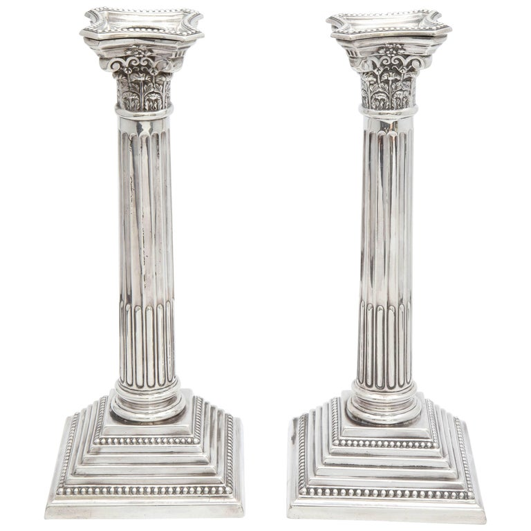 Tall Pair of Sterling Silver Neoclassical Corinthian Column Candlesticks