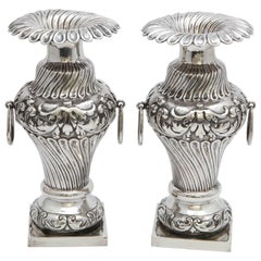 Pair of Continental Silver (.800) Dutch Victorian Vases