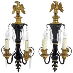 Pair of Federal Style Black and Gilt Sconces