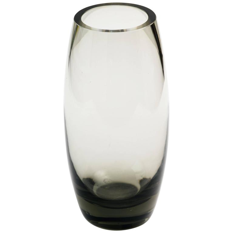 Danish Modern Smoked Grey Glass Vase by Holmegaard 1