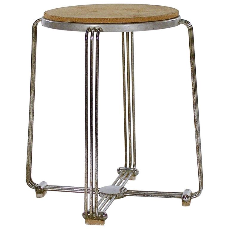 Die-Cast Aluminium and Chrome Stool by Alpax For Sale