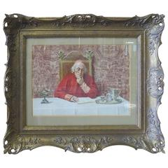 Watercolor Painting of a Cardinal Reading by Nazzarreno Cipriani