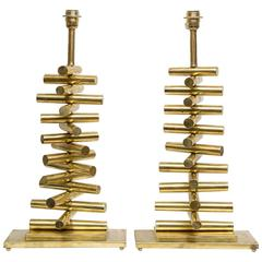 Pair of Table Lamps All in Brass from the Years 1970-1980