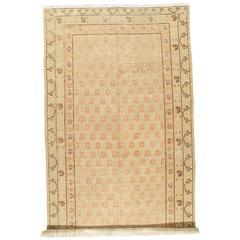 Antique Khotan Rug, Handmade Oriental Rug, Soft shrimp, Beige, Brown, Allover
