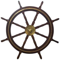 Varnished Mahogany and Brass Ship's Wheel