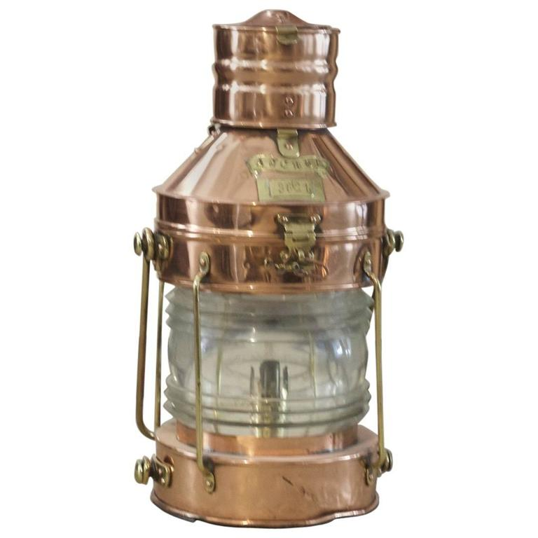 Copper and Brass Ship's Anchor Lantern by Meteorite For Sale