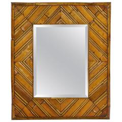 Rectangular Bamboo and Cane Work Mirror