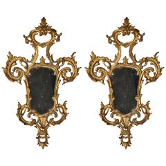 Beautiful Pair of 18th Century Italian Rococo Carved Giltwood Mirrors
