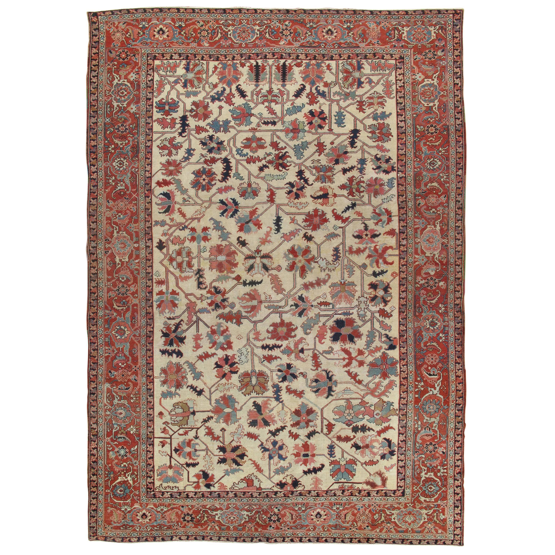 Antique Persian Serapi Carpet, Handmade Wool Oriental Rug, Ivory and Light Blue