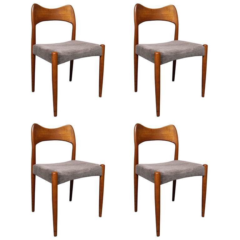 Four Arne Hovmand Olsen Danish Teak Dining Room Chairs For