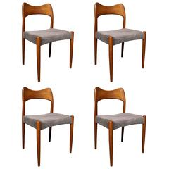 Four Arne Hovmand Olsen Danish Teak Dining Room Chairs