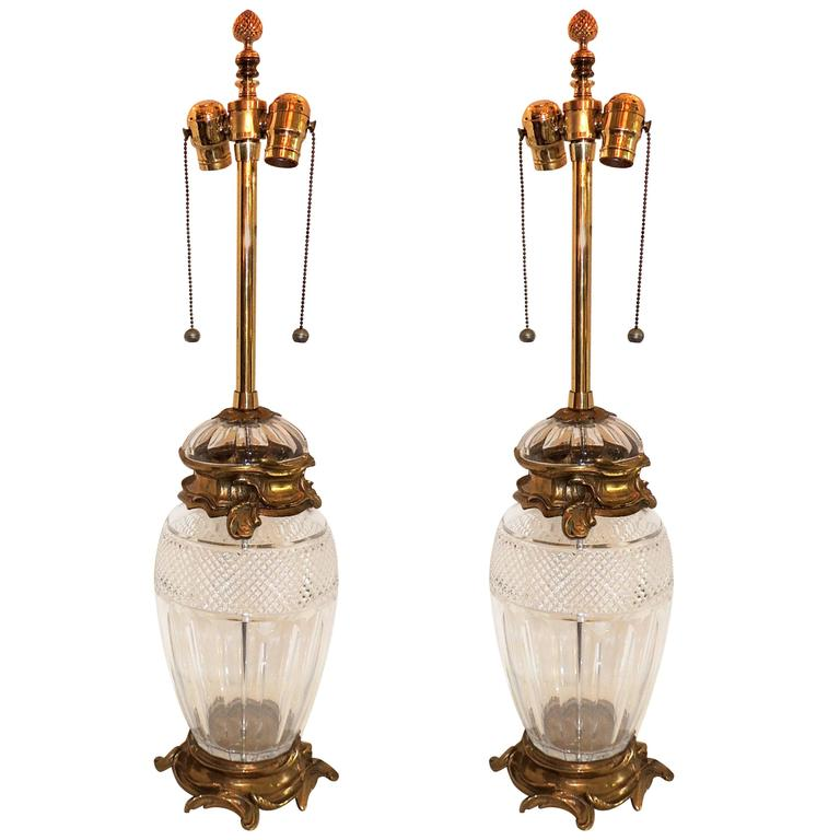 Pair of French Ormolu Gilt Bronze Cut Crystal Etched Urn Louis XVI Lamps