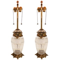Wonderful Pair French Ormolu Gilt Bronze Cut Crystal Etched Urn Louis XVI Lamps