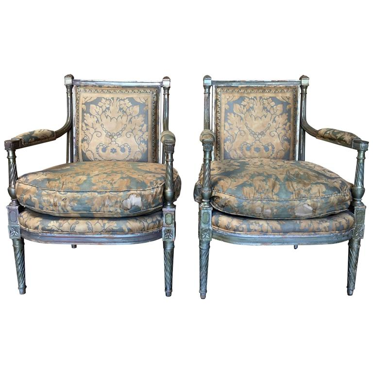 pair of louis xvi style fauteuil for sale at 1stdibs. Black Bedroom Furniture Sets. Home Design Ideas