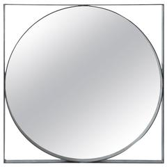 Round Iron Mirror with Square Iron Frame