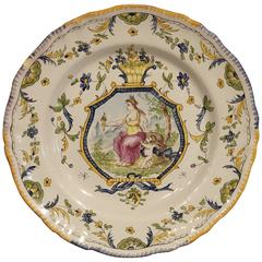Hand-Painted French Faience 18th Century Reproduction Plate, Mid-1900s