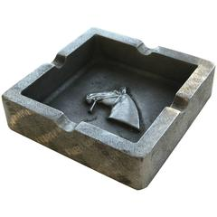 Mid-Century Modern Equestrian Theme Ashtray in Pewter