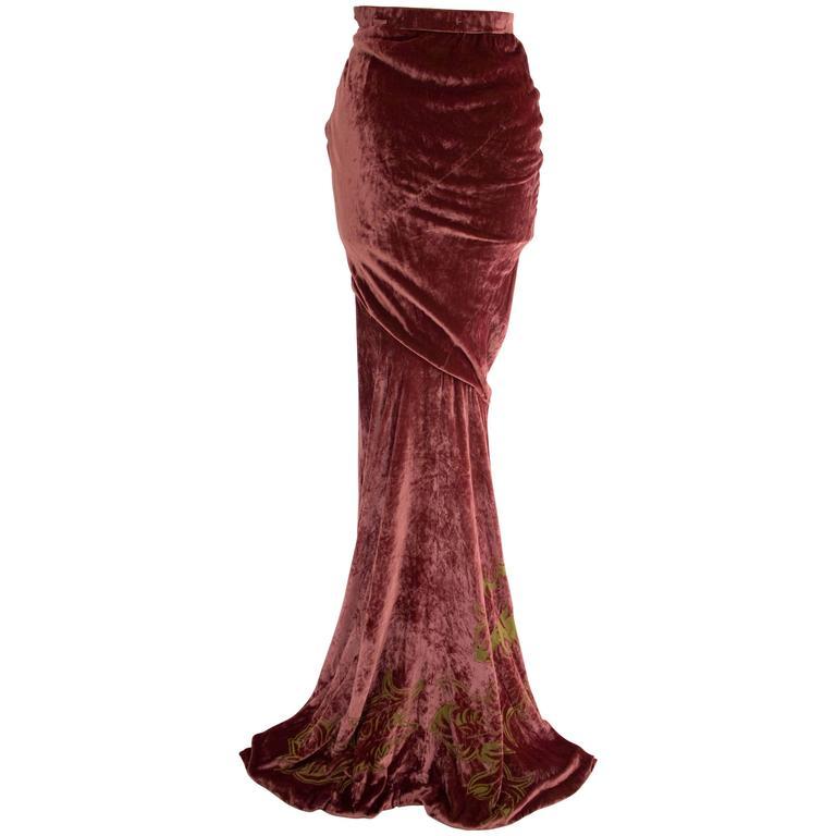 Alexander McQueen for Givenchy Haute Couture 1997 Velvet Skirt For Sale