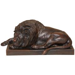Late 19th Century Bronze of a Recumbent Lion by Julius Heinrich Haehnel