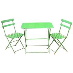 French Metal Bistro Table and Chairs