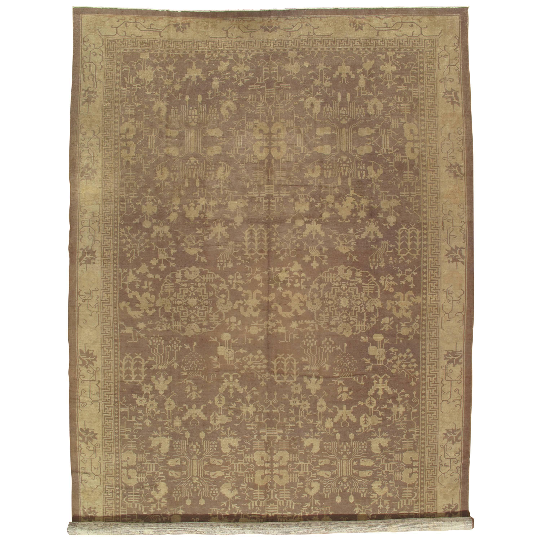 Antique Chinese Carpet, Handmade Oriental Rug, Brown, Gold, Cream, Beige