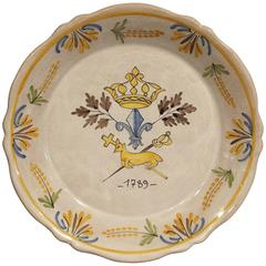 Hand-Painted French Faience, 18th Century Reproduction Plate, Mid-1900s