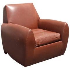 Dakota Jackson Ke-Zu Leather Deco Style Club Chair