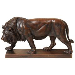 Late 19th Century Patinated Bronze Lion on Base by Julius Heinrich Haehnel