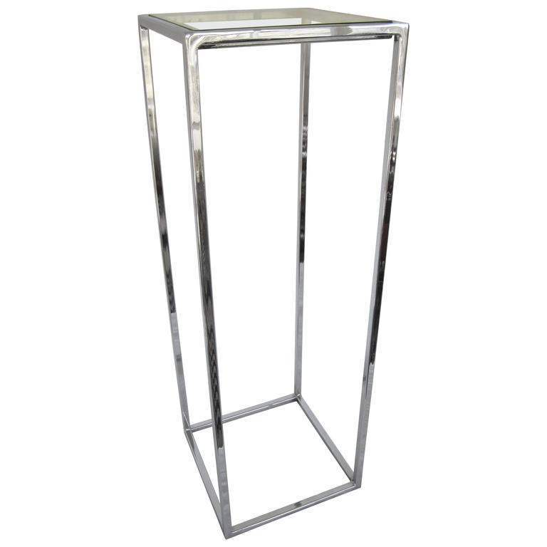Polished Chrome And Glass Pedestal Table At 1stdibs