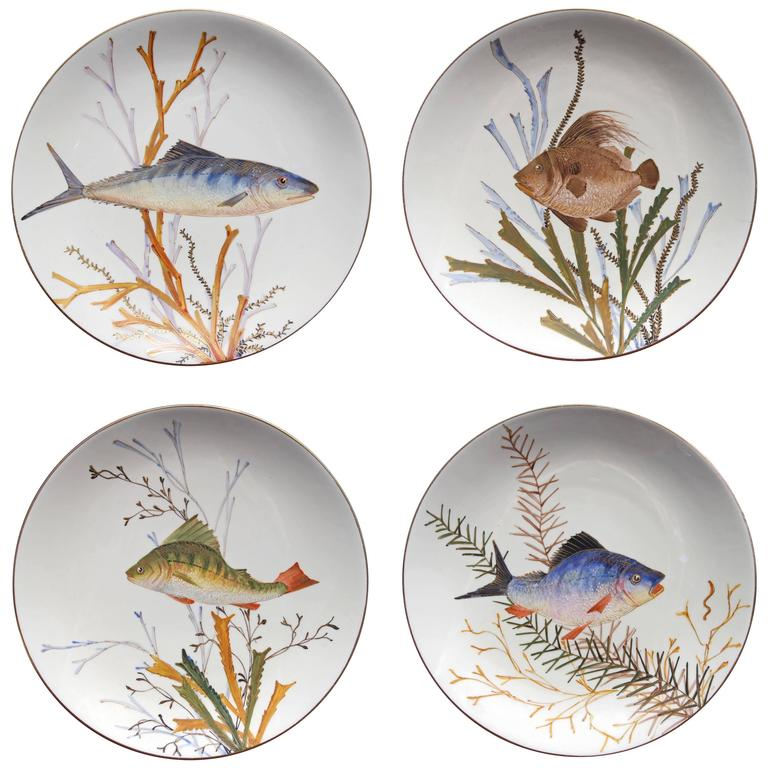 Set of 19th Century Fish Plates