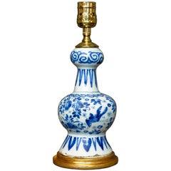 Dutch Delft Blue and White Vase Lamp on Water-Gilt Base