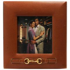 Tan Leather Gucci Picture Frame with Brass Horsebit, circa 1960