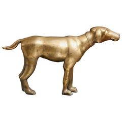 Large Standing Brass Pointer Hunting Dog Door Stop