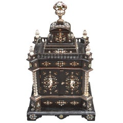 19th Century Austrian Ebony Jewelry Box Mounted in Rock Crystal with Enamel