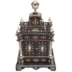 19th Century Austrian Ebony Jewelry Box Mounted in Rock Crystal with Enamel