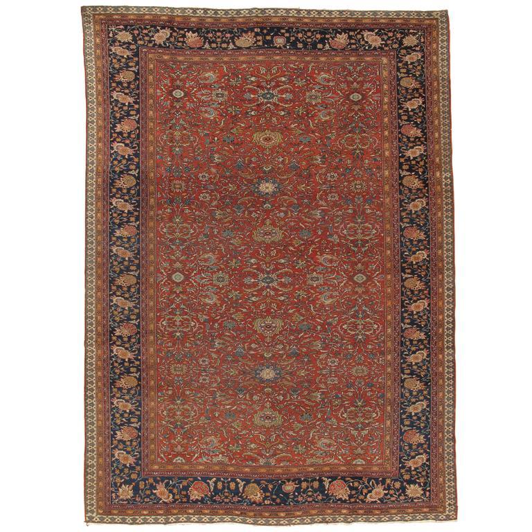 Antique Farahan Sarouk Carpet Handmade Oriental Rug Ivory Red Navy Fine