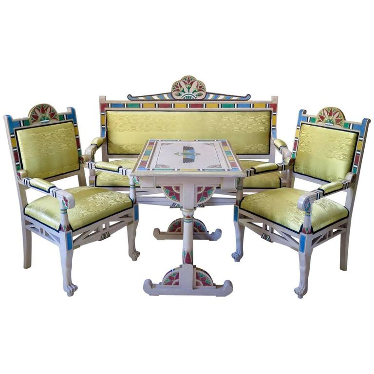 """Theatrical """"Egyptian"""" Living-Room Set, France, circa 1940s"""
