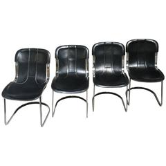 Four Italian Chairs with Original Black Leather Seat by Willy Rizzo for Cidue