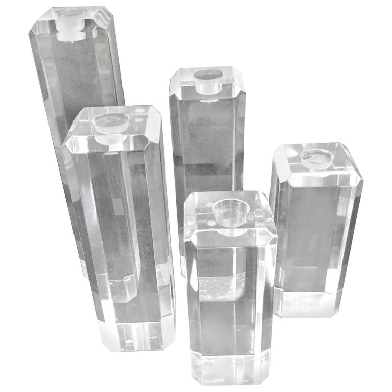 Set of Five Acrylic Lucite Candlesticks For Sale