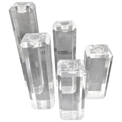 Set of Five Acrylic Lucite Candlesticks